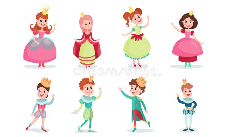 Set Of Vector Illustrations With Young Fairy Princes And Princesses In Crowns Cartoon Characters. Fairy princes and princesses. Children, boys and girls in royalty free illustration