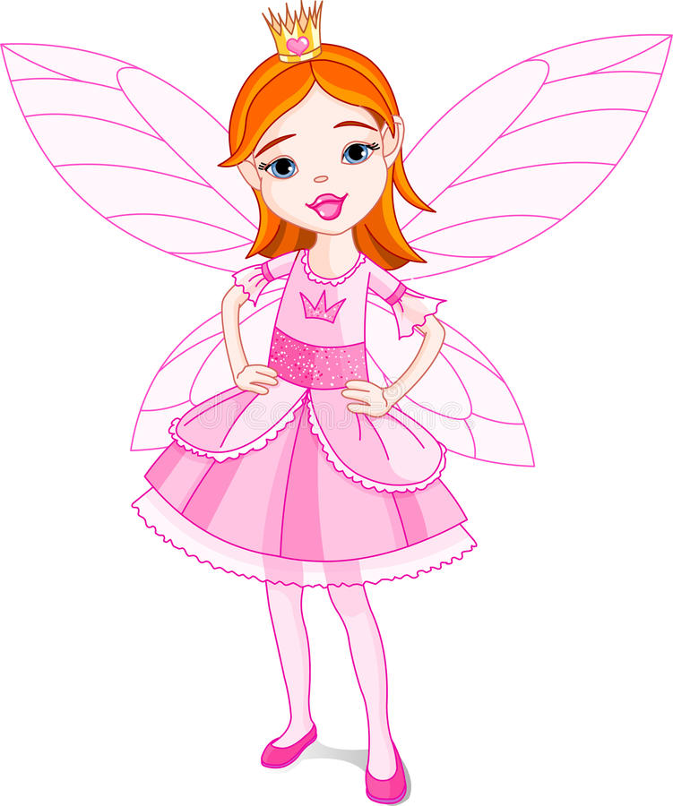 Fairy Princess. Illustration of a cute little fairy. Wings in different layer, can be removed easily when needed royalty free illustration
