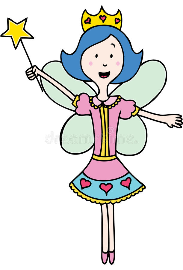 Fairy Princess. Young girl dressed as a fairy princess with crown and wand stock illustration