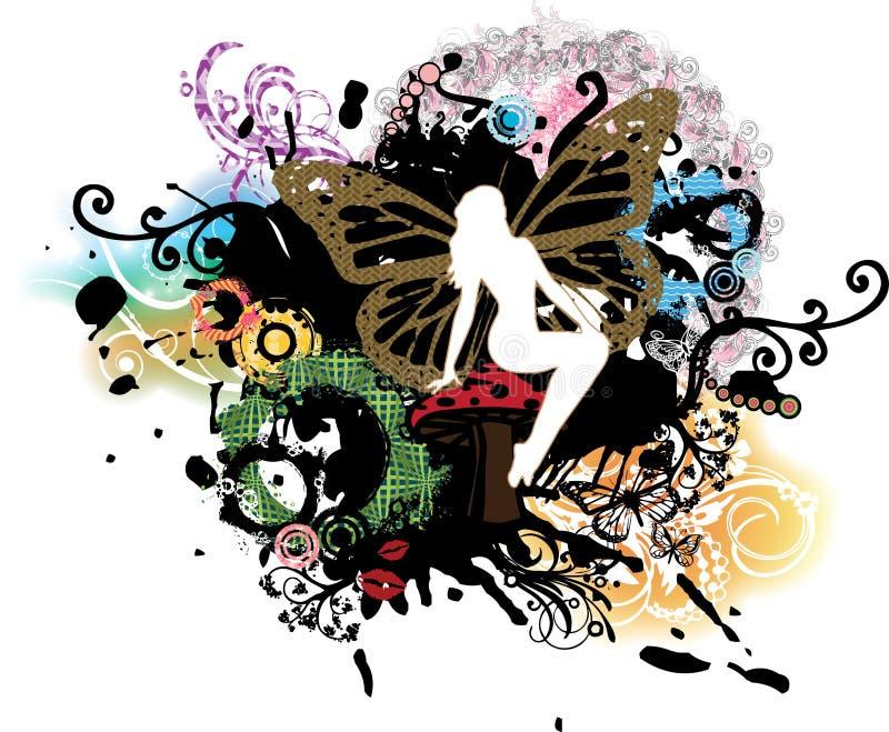 Fairy psichedelico di Grunge sul fungo illustrazione vettoriale