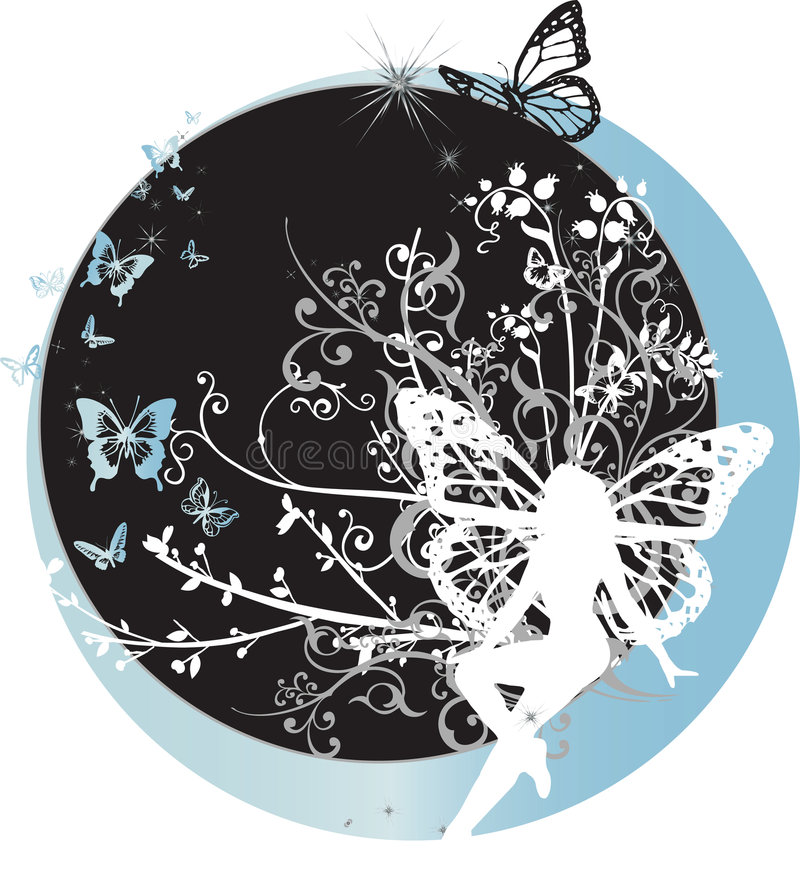 Fairy Que Senta-se No Crescente Imagem de Stock