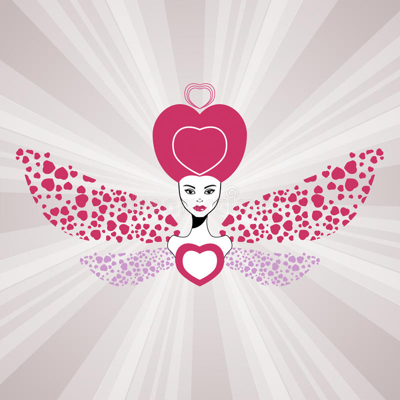 Download Fairy Queen Of Love With Hearts Wings. Valentine Royalty Free Stock Photography - Image: 22307037