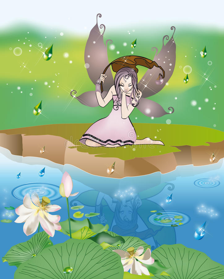 Download Fairy in the rain stock vector. Image of background, flower - 25469824