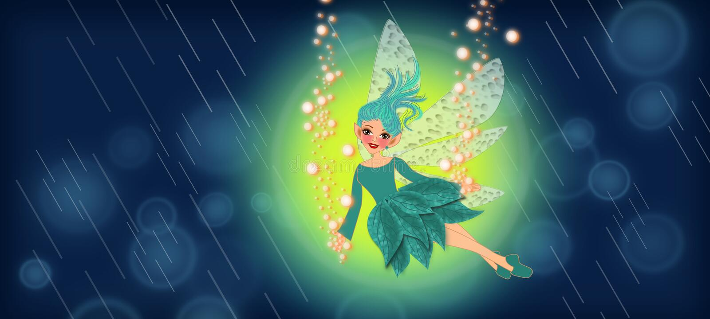Fairy in the rain. Beautiful fairy under the rain in the night sky scene illustrations background