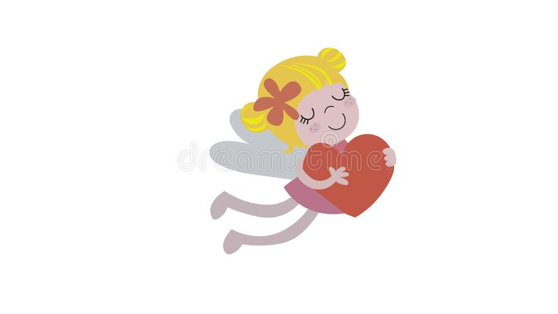 Fairy with red heart royalty free illustration