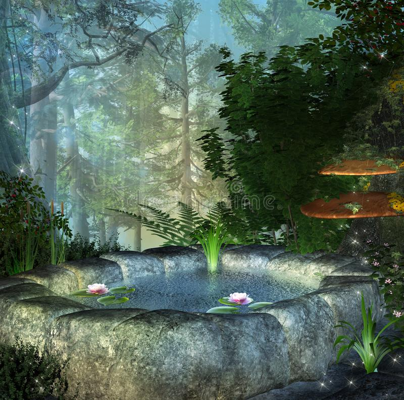 Fairy secret pond in the enchanted forest. Little crystal clear pond with water lilies in the middle of a lushly vegetation stock illustration