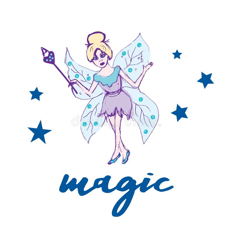Fairy set. Beautiful girl in fying fairy costumes. Winged elf princesses in cartoon style. Vector illustration for kids and babies stock illustration