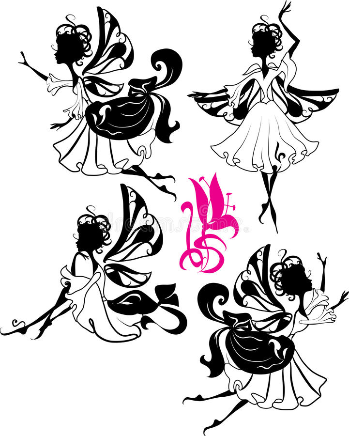 Fairy Silhouette. Isolated on white background with flower vector illustration