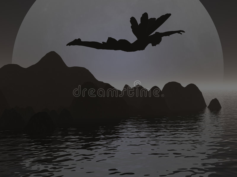 Fairy Silhouette stock illustration