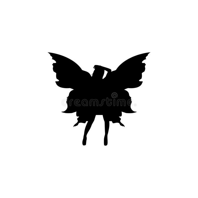 Fairy Silhouette Character Graphic Logo Design geïsoleerd op witte achtergrond vector illustratie