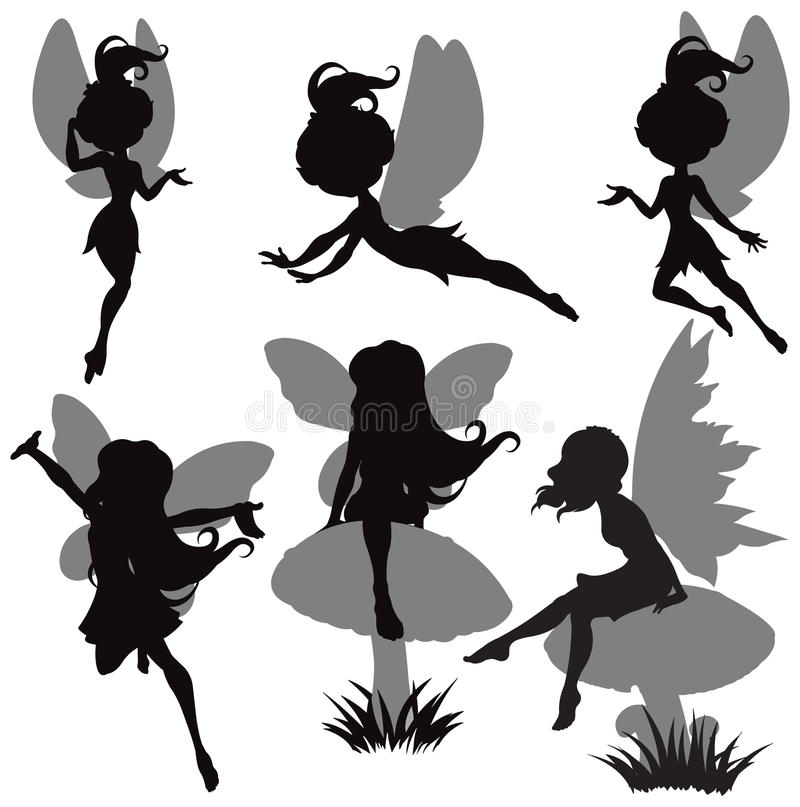 Fairy Silhouette Set. Illustration of fairy silhouette set royalty free illustration