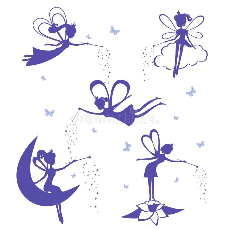 Fairy silhouette vector set. Cartoon fairy silhouette vector set. Set of Blue Silhouette stencil Fairys on white background. Vector illustration vector illustration