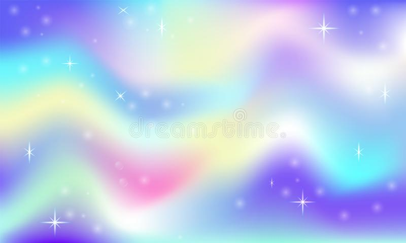 Fairy space magical glow background with rainbow mesh. Multicolor universe space banner in princess colors. Fantasy pink gradient. Backdrop with hologram royalty free illustration