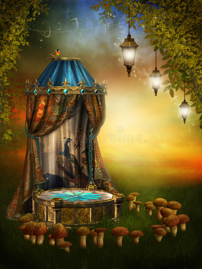 Fairy stage with lamps. Fairy stage with a mushroom ring and lamps