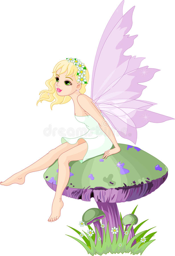 Fairy sul fungo illustrazione di stock