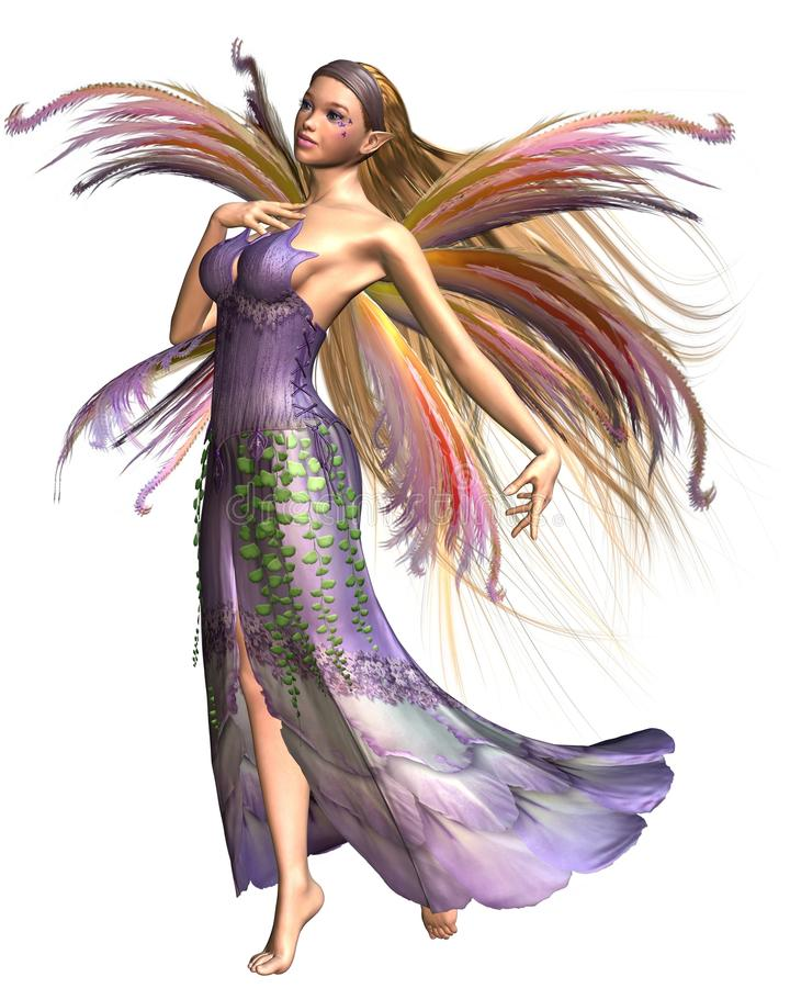 Fairy Summer Spirit. Dressed in pink, lavender and green spring colours with wispy rainbow wings, 3d digitally rendered illustration stock illustration