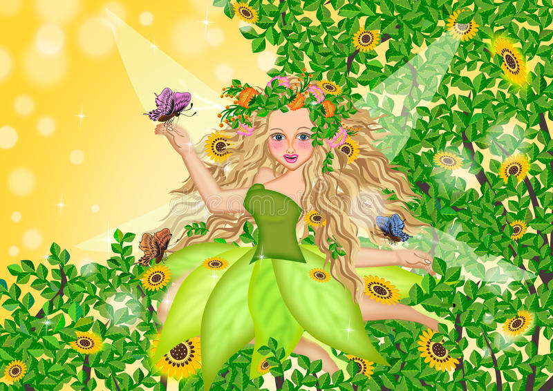 Fairy on summer time. In the jungle illustrations