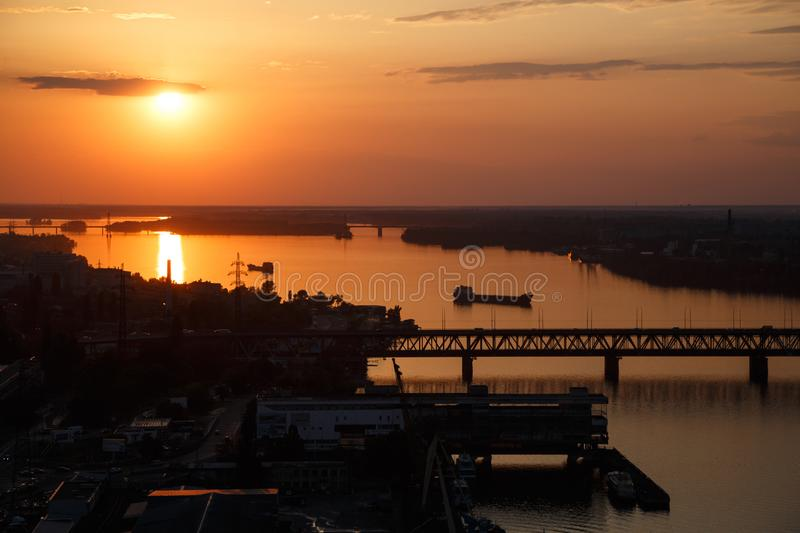 Fairy sunset in the Dnipro city royalty free stock photography