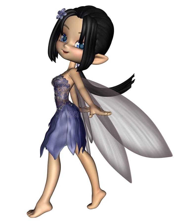 Fairy sveglio di Toon in vestito blu dal fiore illustrazione di stock