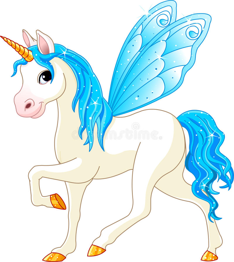 Fairy Tail Blue Horse. Blue Cute winged horse of Fairy Tail. (Rainbow colored horses series royalty free illustration