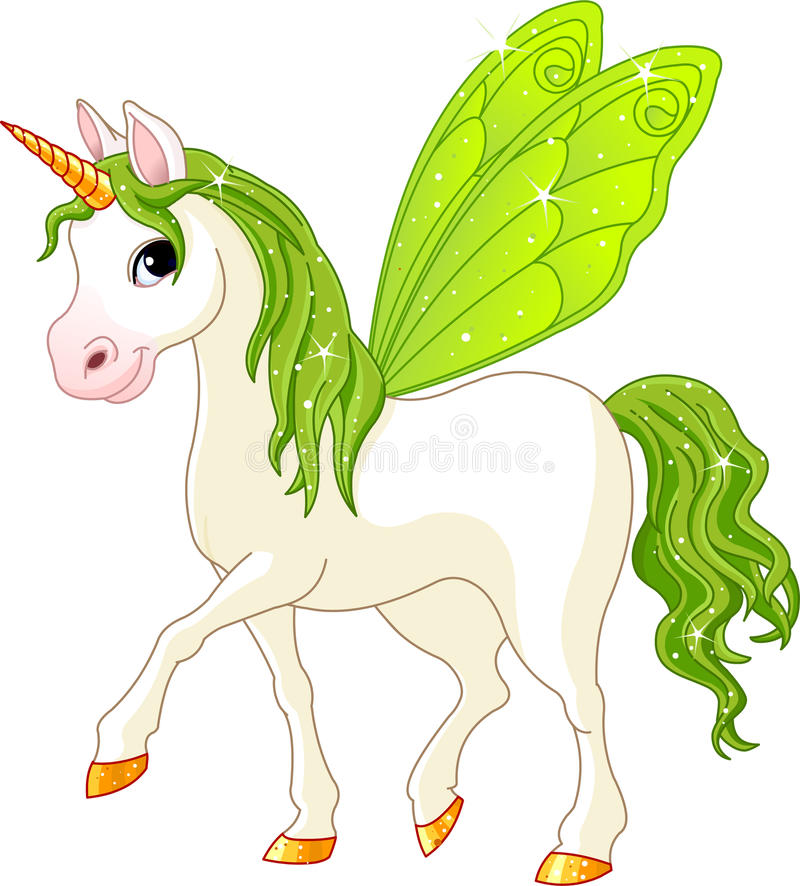 Fairy Tail Green Horse. Green Cute winged horse of Fairy Tail. (Rainbow colored horses series royalty free illustration
