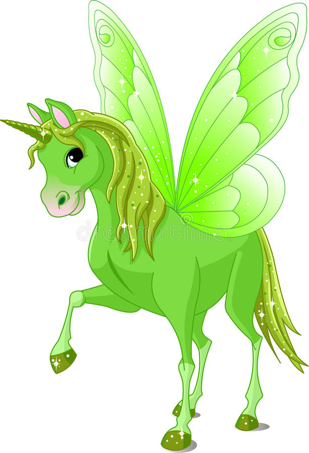 Fairy Tail Horse. Green Cute winged horse of Fairy Tail stock illustration