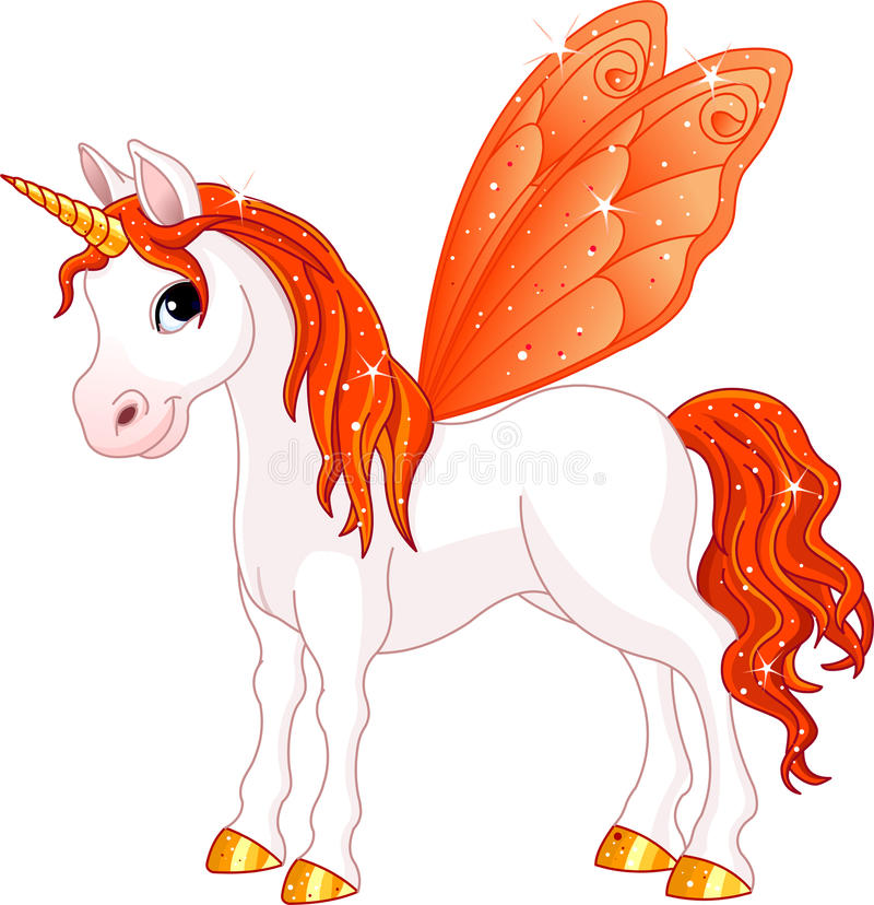 Fairy Tail Orange Horse. Orange Cute winged horse of Fairy Tail. (Rainbow colored horses series stock illustration