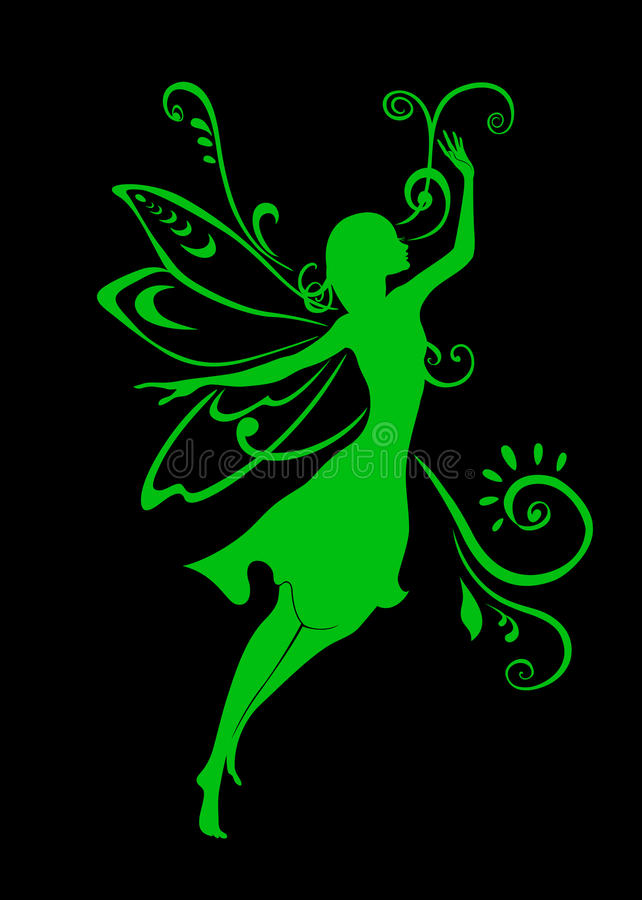 Fairy tale. Vector Illustration Silhouette of funky fairy royalty free illustration