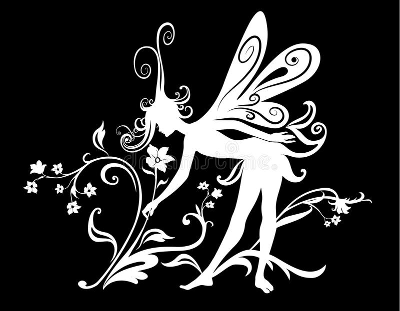 Fairy tale. Vector Illustration Silhouette of funky fairy on flower pattern design vector illustration