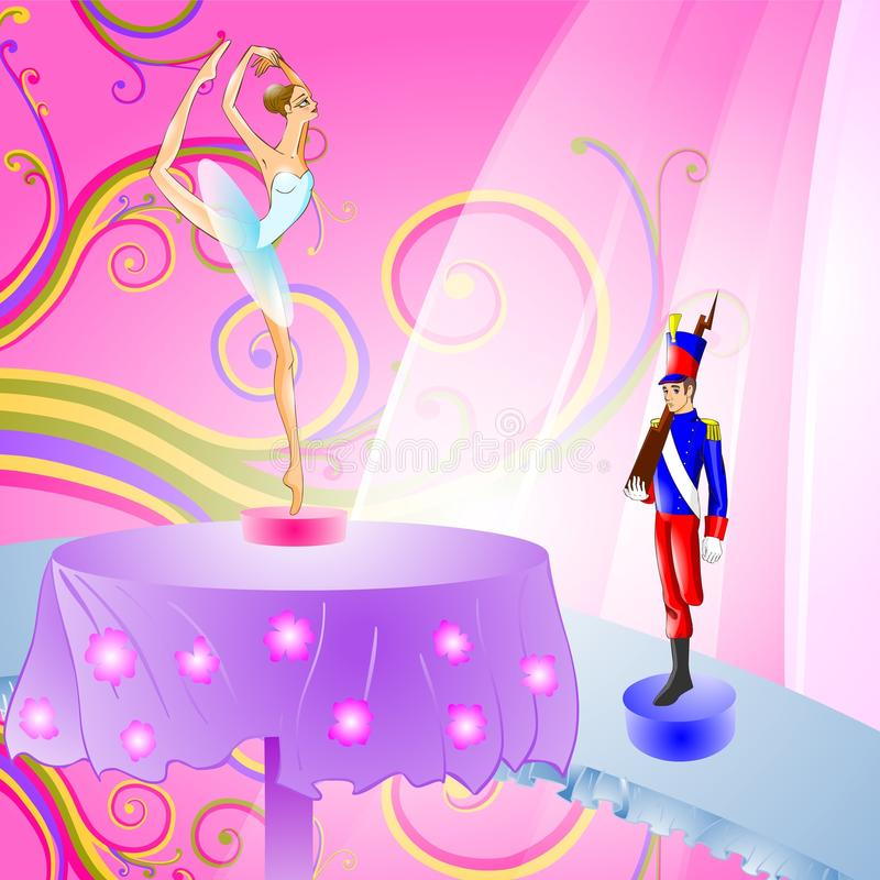 Fairy tale 13. Illustration for tale The Constant Tin Soldier. Meeting with Ballerina stock illustration