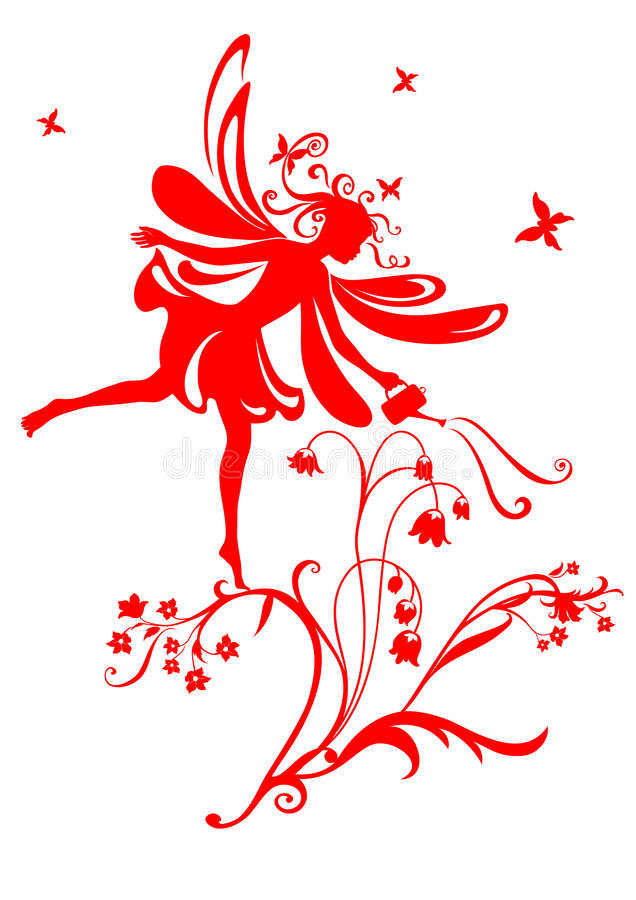 Fairy tale. Vector Illustration Silhouette of funky fairy on flower pattern design royalty free illustration