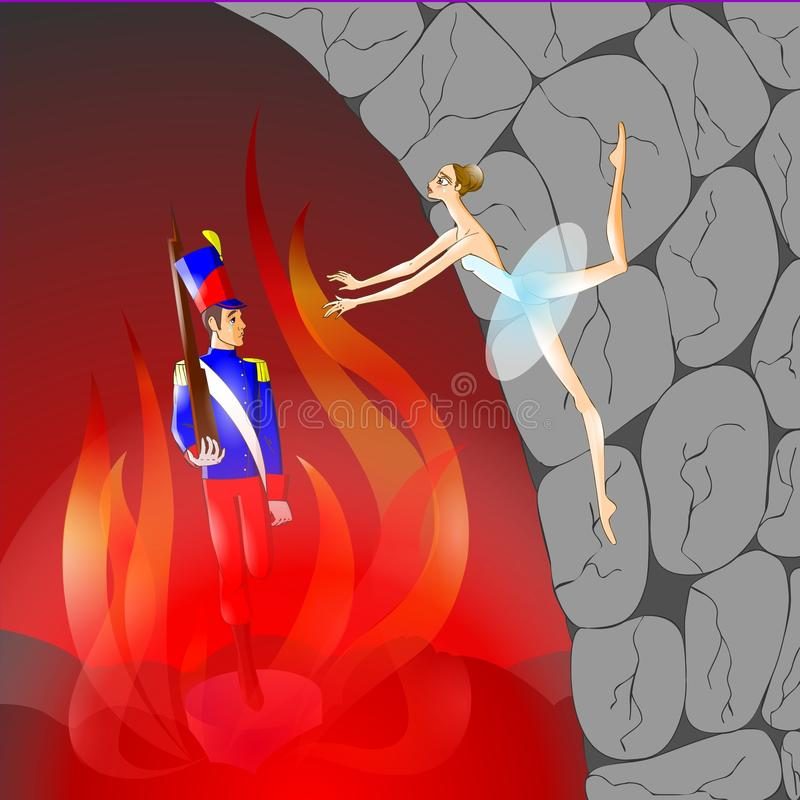 Fairy tale 14. Illustration for tale The Constant Tin Soldier. Ballerina jumped into the fireplace stock illustration