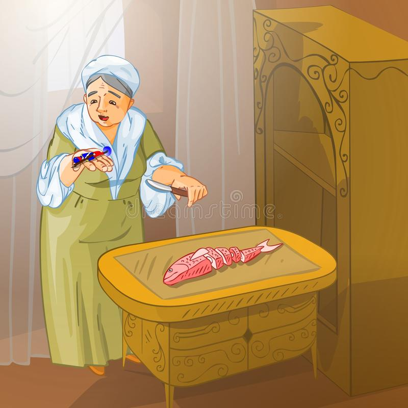 Fairy tale 16. Illustration for tale The Constant Tin Soldier. The old lady had found the soldier in the fish royalty free illustration