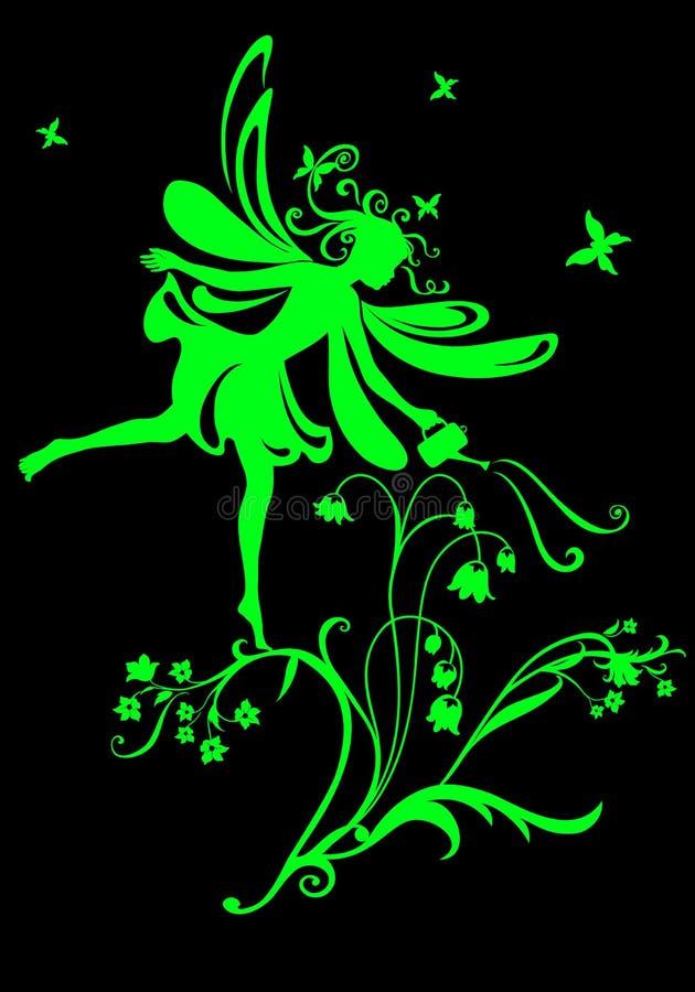 Fairy tale. Vector Illustration Silhouette of funky fairy on flower pattern design stock illustration