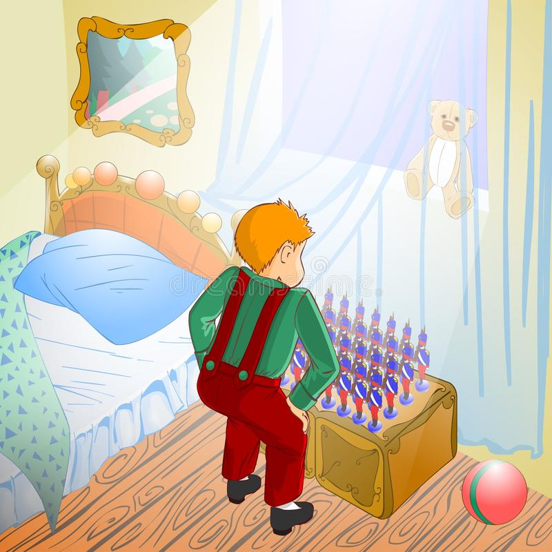 Fairy tale 20. Illustration for tale The Constant Tin Soldier. Boy looks on his tin soldiers vector illustration