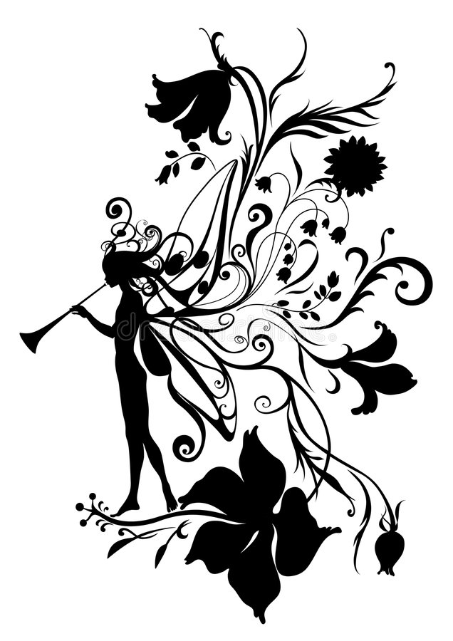 Fairy tale. Vector Illustration Silhouette of fairy with magic fife on flower pattern design royalty free illustration