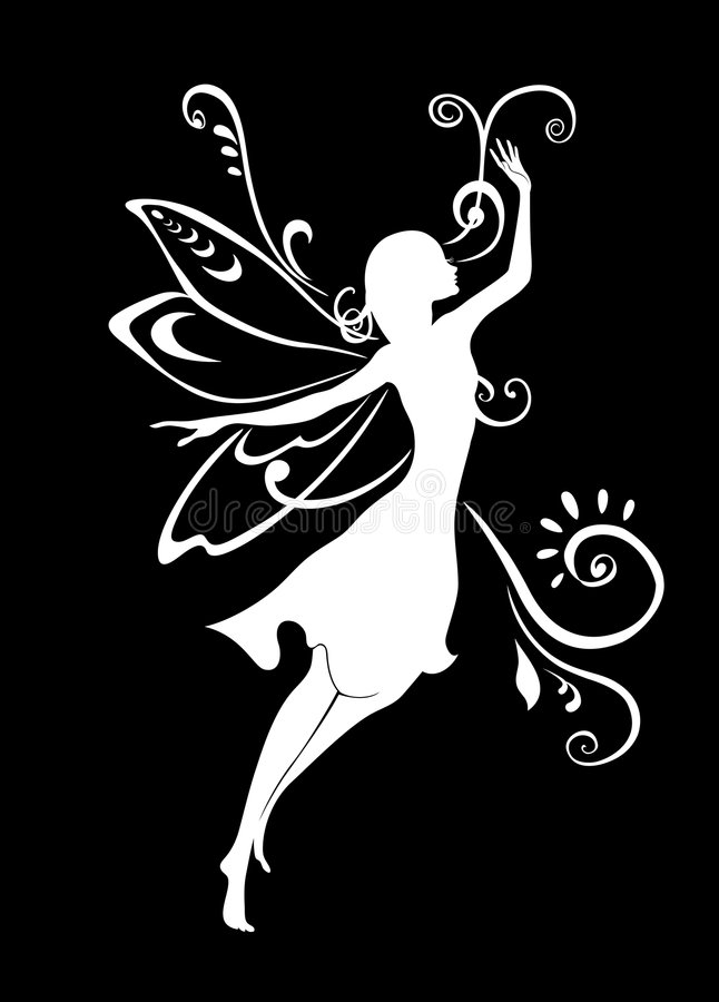 Fairy tale. Vector Illustration Silhouette of funky fairy on flower pattern design stock illustration