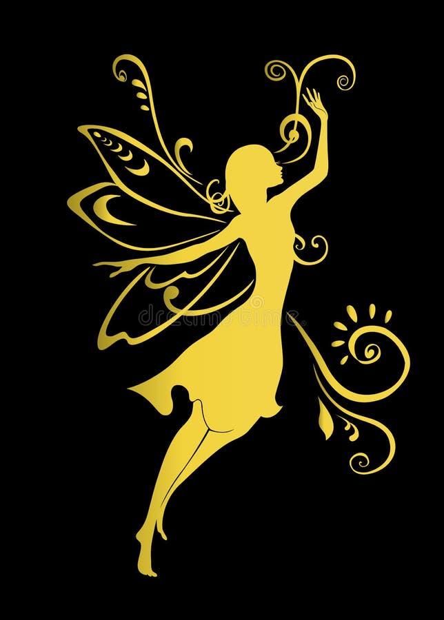 Fairy tale. Vector Illustration Silhouette of golden fairy on flower pattern design stock illustration