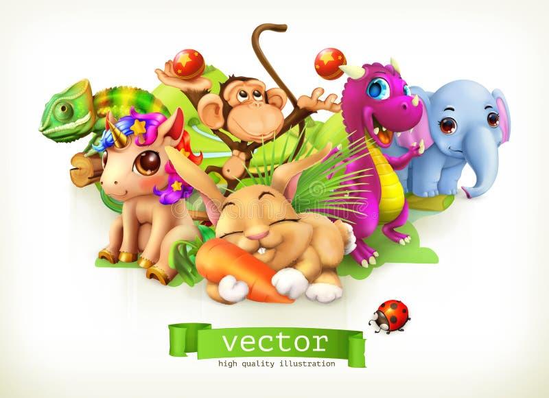 Fairy tale animals. 3d vector royalty free illustration