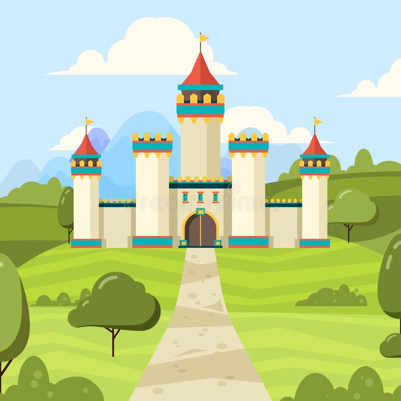 Fairy tale background with castle. Majestic building palace with towers vector medieval castle on green field. Illustration castle fantasy, palace medieval vector illustration