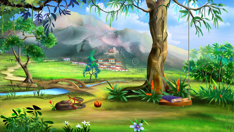 Fairy Tale Background with Swings and Small Bridge Over the Rive stock illustration