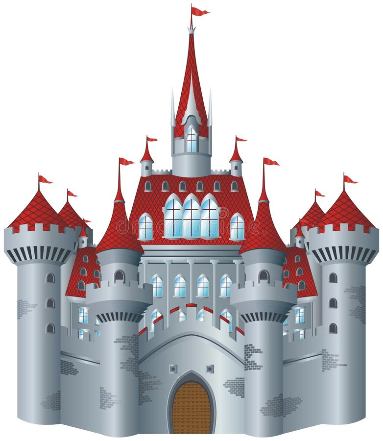 Fairy-tale castle. On white background