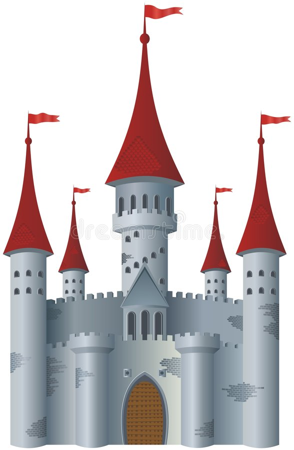 Fairy-tale castle. On white background vector illustration