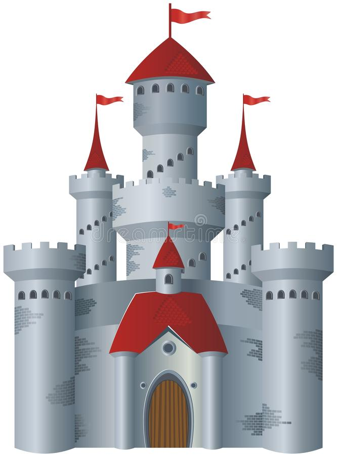 Fairy-tale castle. On white background royalty free illustration