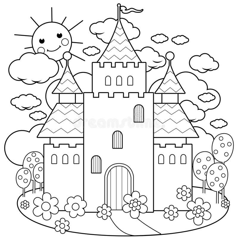 Free Fairy Tale Castle And Flowers. Coloring Page Royalty Free Stock Image - 96010066