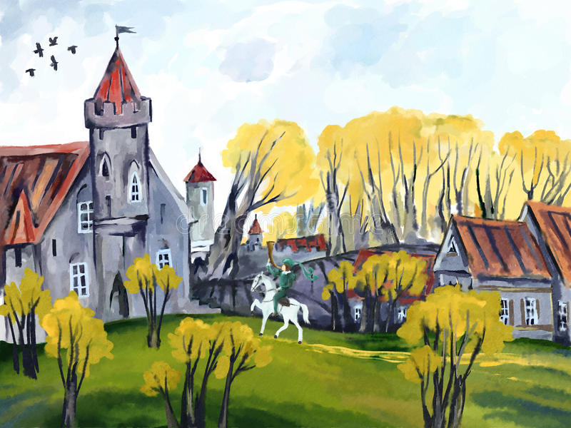 Download Fairy tale castle stock illustration. Image of rider - 37483303