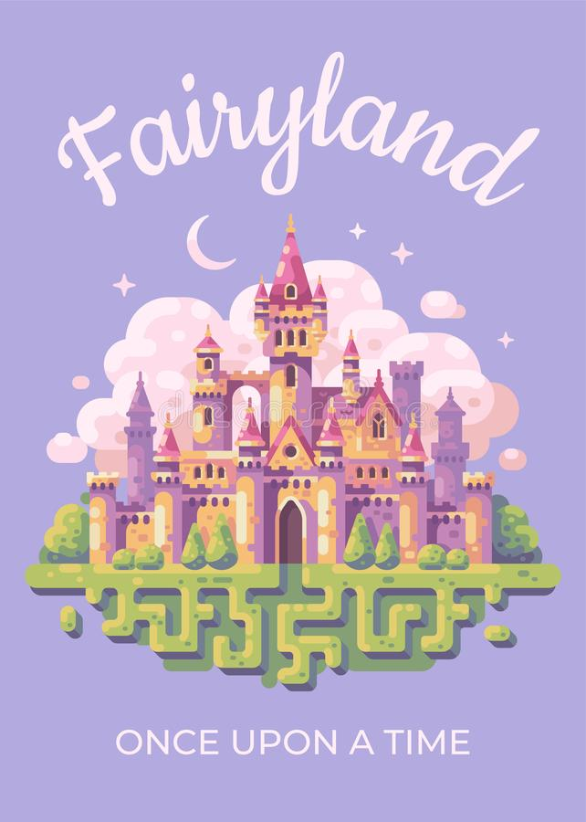 Fairy tale castle flat illustration poster. Fairyland kid book cover. Fairy tale castle flat vector illustration poster. Fairyland kid book cover concept stock illustration