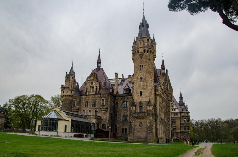 Fairy-tale castle in Moszna village in Poland royalty free stock image