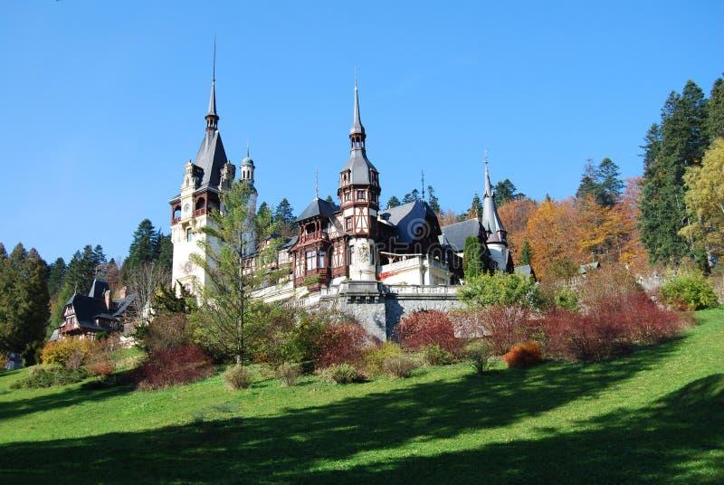 Fairy-tale castle (Peles, Sinaia, Romania) stock photography