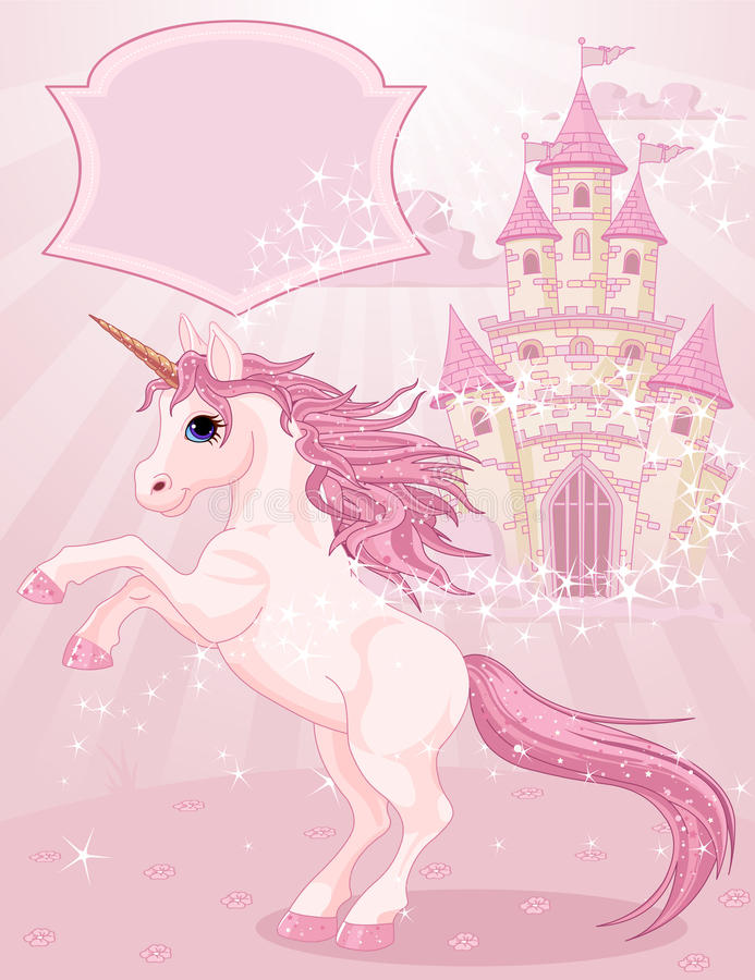 Fairy Tale Castle and Unicorn vector illustration